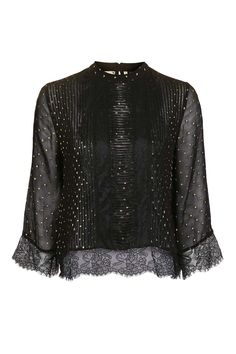 Lace Foil Pintuck Blouse - Beauty- Topshop