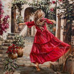 M19043 I Never Walk Alone Romantic Artwork, Beautiful Artwork, Original Artwork, Original Paintings, Dress Painting, Walking Alone, Moon Art, Canvas Art Prints, Fine Art
