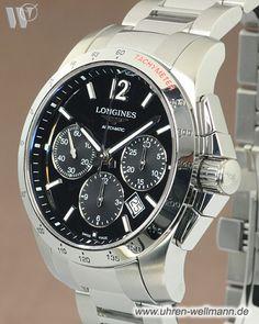 Longines Conquest L2.743.4.56.6, Herrenuhr, Chronograph, Automatik, Stahlgehäuse, Stahlarmband mit Faltschließe, Sichtboden