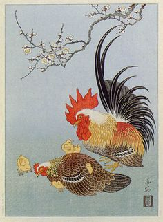 hanga gallery . . . torii gallery: Rooster and Hen by Ohara Koson