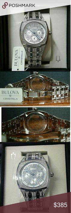 NWT Bulova Crystal chronograph watch NWT Bulova Men's Crystal Chronograph Day-Date Watch   Firm price firm price firm price firm price firm price   FIRM Price  499.00  . AUTHENTIC WATCH  . AUTHENTIC BOX  . AUTHENTIC MANUAL   SHIPPING  PLEASE ALLOW FEW BUSINESS DAYS FOR ME TO SHIPPED IT OFF.I HAVE TO GET IT FROM MY WAREHOUSE.   THANK YOU FOR YOUR UNDERSTANDING. Bulova Accessories Watches