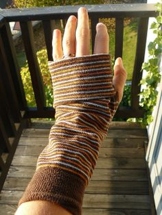 What do you do when you suddenly realize your socks have humongous holes well beyond repair? Do you throw them away? Here's a seasonal super-duper easy way to recycle them into fingerless gloves.