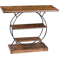 Sterling Industries Leominster Wood and Metal Console Table ($418) ❤ liked on Polyvore featuring home, furniture, tables, accent tables, black, black metal shelf, metal storage shelf, metal wood shelves, metal shelves and black wood shelves