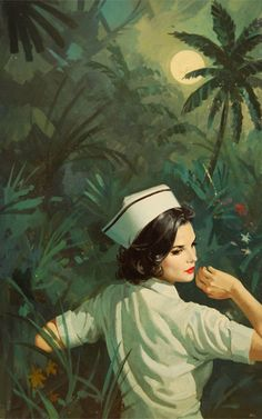Pulp Cover : by Robert Maguire I wonder why nurses don't wear these hats. In fact I don't remember ever seeing them wearing those in real life.