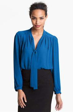 Pleione Tie Neck Pleated Blouse available at #Nordstrom