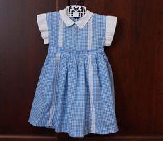 Vintage Toddler Girl Blue Gingham Dress  size 2T