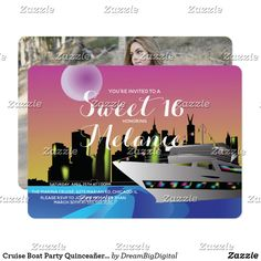 Find customizable Pink invitations & announcements of all sizes. Pick your favorite invitation design from our amazing selection. Cruise Party, Cruise Boat, Sweet 15 Invitations, Sweet 16 Parties, Invitation Design, Rsvp, Birthday, Kids, Invitations