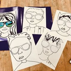 Sunglasses Portraits are looking cool! #art #artteacher #artlesson #artteachersofinstagram #artclass #elementaryart #elementaryartteacher