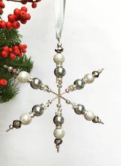 Items similar to Beaded Snowflake Christmas Decoration (Silvers) on Etsy Felt Christmas Decorations, Christmas Ornaments To Make, Christmas Snowflakes, Christmas Jewelry, How To Make Ornaments, Diy Christmas Gifts, Homemade Christmas, Beaded Snowflake, Snowflake Ornaments