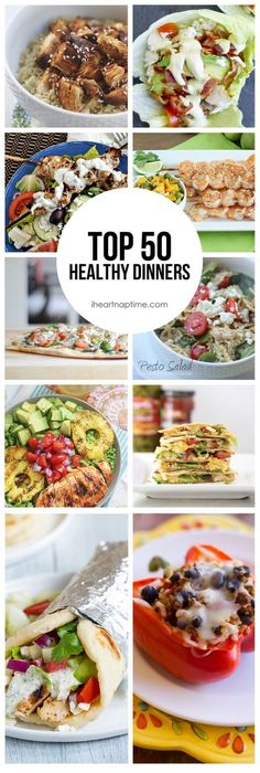 Top 50 Healthy Dinners -so many delicious recipes to try! Great healthy meal ideas.
