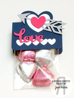 Valentine's treat bag by Jean Manis for Reverse Confetti ABC (Anything But a Card) blog hop - Feb 2015. Confetti Cuts: Sweet Treat Tent, Love Note, Class Act and Pretty Panel Straight Stripes. Valentine's Day gift idea.