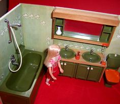 Image detail for -Vintage 1970's Lundby Dolls House Complete Avocado Green Bathroom ...