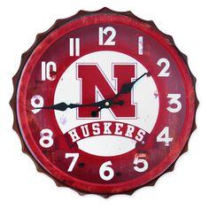 Nebraska Huskers Bottle Cap Clock