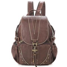 Vintage Dark Brown PVC Casual Backpacks with V-shape Thread Design for Girls