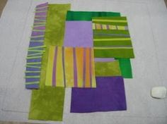 Interesting! Not pieced...just laid out and stitched over on a piece of batting. Melody Johnson's tute on how to make her stacked quilts