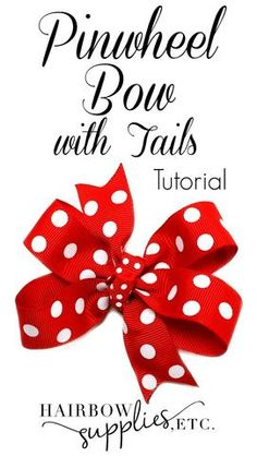 This hair bow video describes how to make a pinwheel hair bow with tails. It is a simple technique using inch grosgrain ribbon and a jumbo clip! - Hairbow Supplies, Etc. Tulle Hair Bows, Ribbon Hair Bows, Diy Hair Bows, Diy Bow, Ribbon Flower, Fabric Flowers, Fabric Bows, Diy Flowers, Homemade Hair Bows