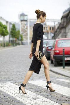 Street fashion for Fall..Street fashion high slit and a statement bun