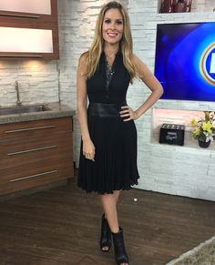 Wednesday, October 1st | Dina's outfit included: ANN TAYLOR Black Sleeveless Dress with Leather Trim $169.00 TOPSHOP available at Hudson's Bay Green & Gold Necklace $46.00 COCOA JEWELRY available at Shoppers Drug Mart Daisy Ring $32.00 VINCE CAMUTO Black Peep Toe Ankle Booties $180.00