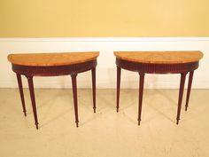 38372E: Pair Adam Inlay Satinwood Top Demi by StenellaAntiques