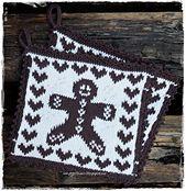 Ravelry: Pepperkakegryteklut pattern by Jorunn Jakobsen Pedersen Plastic Canvas, Pot Holders, Ravelry, Knitting Patterns, Diy And Crafts, Christmas Crafts, Cross Stitch, Textiles, Blanket