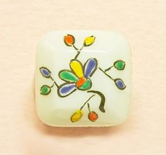 Edwardian Small Square Milk Glass  Button  Bright by Butterflysue, $7.00