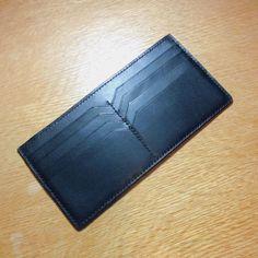 Handmade - Black Vegetable Tanned Leather Long Wallet / Purse _ Brook