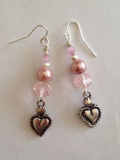 Heart Charm Dangle Earrings with Pink Beads by DayDreamingDecor, $12.50