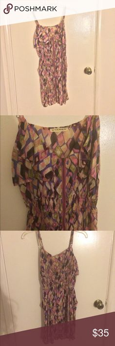 Pastel Geometric Print Dress XTaren brand women's size large pastel pink, lavender, and yellow geometric print adjustable spaghetti strap 100% rayon mini dress with a zipper down the middle of the entire front side, ruffled neckline, and scrunched up elastic cinched empire waist. In excellent condition with no flaws or signs of wear. XTaren Dresses Mini
