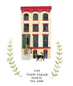 Cute custom house illustration.