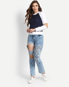 Stalkbuylove Blue Denim Ripped Boyfriend Jeans @looksgud  #Blue, #Denim, #BoyfriendJeans