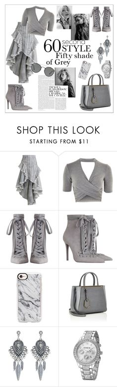 """""""Fifty Shade Of Grey"""" by tesatriantoro ❤ liked on Polyvore featuring Zimmermann, Topshop, Casetify, Fendi, Accessorize, Ray-Ban, Boots, grey, asymmetricskirts and 60secondstyle"""