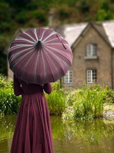 Elisabeth Ansley HISTORICAL WOMAN WITH PARASOL Women Marsala, Mauve, Umbrellas Parasols, Historical Women, Under My Umbrella, Cabbage Roses, Rose Cottage, Shades Of Purple, Color Themes
