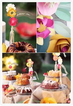 DIY paper flowers and pretty dessert table