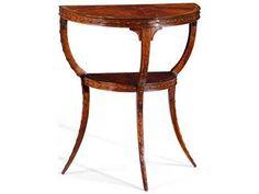 Jonathan Charles Buckingham Medium Antique Mahogany 24 x 14 Demilune Console Table