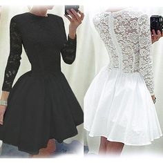 Cheap women plus size formal dresses, Buy Quality dress socks women directly from China women long sleeve blouse Suppliers: 2015 Sexy V Neck Vestidos Patchwork Lace Dress Crochet White Black Long Sleeve Knee Length Tunic Bodycon Women DressesUS