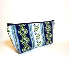 Fabric Pouch Medium Pouch Zipper Pouch Cosmetic Bag  Gadget Pouch Navy Blue and Green Bands. $11.50, via Etsy.