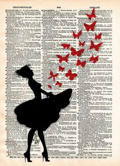 Ballerina artwork, Ballerina art, dancer artwork, butterfly art Ballerina releases butterflies from her dress, done in a Banksy type style These unique and original artwork are printed on authentic vi Newspaper Painting, Newspaper Art, Book Page Art, Book Art, Ballerina Kunst, Images Vintage, Photocollage, Dictionary Art, Butterfly Art