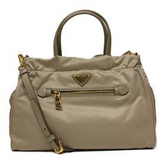 Prada Pomice Gray Tessuto Saffian Nylon and Leather Shopping Tote Bag