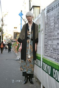"I actually really like his ""noose necklace"". I think he looks awesome, so tall and thin and interesting. Q Occupation:ネオニート Jacket:Vintage Kimono:Vintage Skirt:実撃洋服店 Shoes:Dog Necklace:Handmade Ring:Handmade Japanese Streets, Japanese Street Fashion, Tokyo Fashion, Harajuku Fashion, Kimono Fashion, Fashion Outfits, India Fashion, Quirky Fashion, Vintage Fashion"