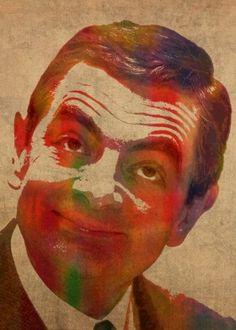 mrbean rowan atkinson comedy humor british actor watercolor funny portrait