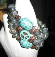Turquoise dyed Howlite with Green Glass and Copper Pewter Beads #Buddha #Peace #Love #SouthWest #EyeGotchaCovered #StretchBracelet #FashionTrendingJewelry