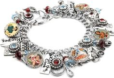 "My jewelry store features handmade jewelry, charm bracelets, necklaces, earrings, this beautiful ""Kiss the Cook"" charm bracelet and over 400 more unique jewelry designs. My jewelry is created with 316"