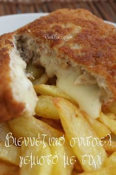 Vídeňský řízek - Wiener Schnitzel stuffed with cheese. I know what schnitzel is now. I thought it was a fruit-based dessert. I was very wrong. Cookbook Recipes, Pork Recipes, Crockpot Recipes, Cooking Recipes, Cooking Ideas, I Love Food, Good Food, Yummy Food, Wiener Schnitzel