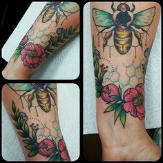 Last one, promise! Got to add this lovely floral frame and honeycomb to this healed bee, thanks Heather! Pretty Tattoos, Love Tattoos, Beautiful Tattoos, Body Art Tattoos, Tattoo Art, Tatoos, Faith Tattoos, Finger Tattoo For Women, Finger Tattoos