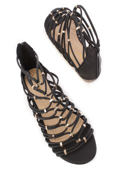 These sexy and stylish gladiator sandals are a must have this season! The features include a faux leather upper in a strappy design with an open toe, beaded detailing, back zipper closure, smooth lining, and cushioned footbed.