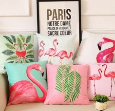 Cheap cushion cover, Buy Quality leaf cushion cover directly from China leaf cushion Suppliers: Summer Palm Leaf Cushion Cover Flamingo Birds Soft Pillow Covers Tropical Plant Pillow Case Bedroom Sofa Decoration Interior Tropical, Tropical Furniture, Tropical Home Decor, Tropical Houses, Sofa Cushion Covers, Cushions On Sofa, Pillow Covers, Sofa Chair, Decorating Rooms