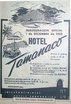 Póster de inauguración del hotel Tamanaco, Caracas. / Hotel Tamanaco's Opening poster, Caracas.