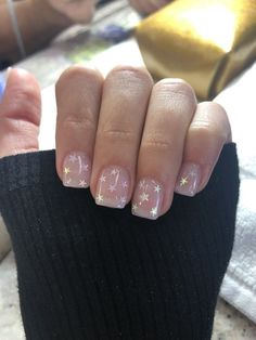 Gel nails with star sparkles Gel nails with s. Gel nails with star sparkles Gel nails with star sparkles Sparkle Gel Nails, Clear Acrylic Nails, Clear Glitter Nails, Clear Nail Tips, Cute Nails, Pretty Nails, My Nails, Diy Gel Nails, Work Nails