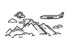 Plane and Mountains  by Nick Slater (Palo Alto, Ca):