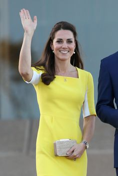 Kate Middleton wears a yellow Roksanda Ilincic dress for day 10 of the royal tour. (Photo by Chris Jackson/Getty Images) via StyleListCanada